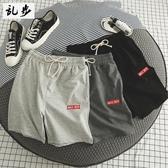 夏季沙灘褲男鬆緊腰運動短褲男士青少年寬鬆五分休閒褲子潮流中褲
