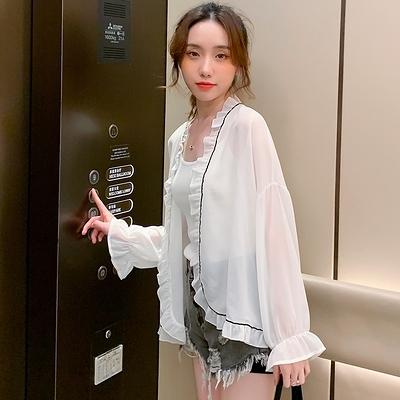 時尚新款夏季雪紡開衫女學生長袖防曬衣荷葉邊寬松透氣外套G447-H胖妞衣櫥
