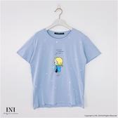 【INI】週慶限定、可愛穿搭印花舒適上衣.水藍色