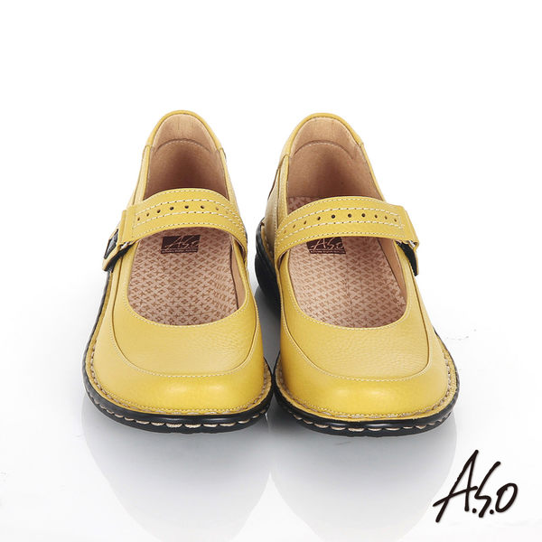 A.S.O 抗震雙核心 全真皮手縫寬楦奈米魔鬼粘氣墊鞋 淺黃