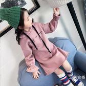 女童秋裝2018新款衛衣裙童裝洋氣連帽長袖兒童中大童秋裝女長袖洋裝