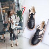 夏季新款韓版百搭女涼鞋包頭中跟單鞋鏤空圓頭扣帶休閒女鞋潮『韓女王』