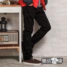 長褲★格紋膠印口袋伸縮休閒長褲(黑色)●...