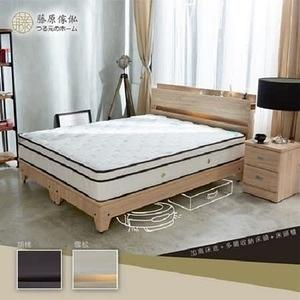 【藤原傢俬】三件式房間組(2層收納床頭+3分加高床底+2抽櫃)胡桃雙人