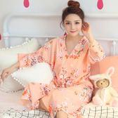 日系和服睡袍女夏短袖甜美可愛中長款