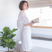 浴袍女夏季薄款華夫格睡袍男女士中長款情侶七分袖浴衣睡衣家居服
