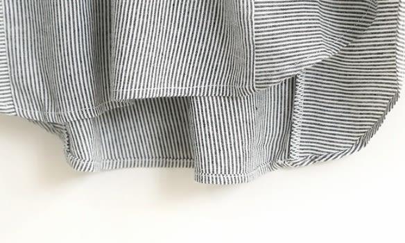 ☆莎lala 【E346-0055】日系短袖連身裙-(現)翻領條紋五分袖長版衣(SIZE約:L)