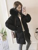 羽絨棉服女中長款2020年冬季新款修身大毛領小個子棉衣棉襖外套厚