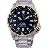 【台南 時代鐘錶 ORIENT】東方錶 RA-EL0003B 兩百米潛水能量機械錶 黑/銀 43mm