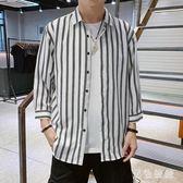 襯衫男韓版潮流工裝帥氣七分短袖牛仔很仙的襯衣夏季寬松休閒外套wl5265[黑色妹妹]