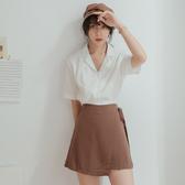 IN'SHOP側綁棉麻後鬆緊褲裙-共4色【KT20771】