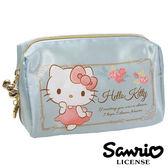 【日本進口正版】Hello Kitty 凱蒂貓 湖水綠款 緞面 立體 化妝包 收納包 鉛筆盒 筆袋 三麗鷗 - 416881