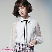 【SHOWCASE】氣質二件式緞帶領結蕾絲長袖襯衫(白)