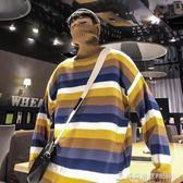 2018秋冬條紋針織衫韓版寬鬆情侶BF風高領毛衣打底線衫 時尚潮流