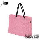 手提袋-編織袋(L)-桃紅白 -01C...