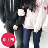 【1033】原宿BF風 英文刺繡連帽T恤 愛心情侶裝M-XXL(3款可選)