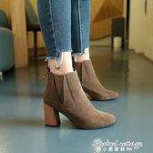 絨面尖頭及裸靴女粗跟高跟鞋百搭韓版馬丁靴單靴短筒靴潮·蒂小屋