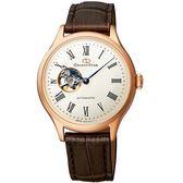 【台南 時代鐘錶 ORIENT STAR】東方之星 RE-ND0003S 經典縷空機械錶 皮帶 玫瑰金 30mm