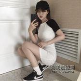 運動風少女中長款T恤裙修身短袖黑白拼色連身裙女