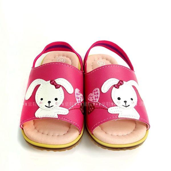 愛心兔兔 後綁帶學步拖鞋《7+1童鞋》A036桃色