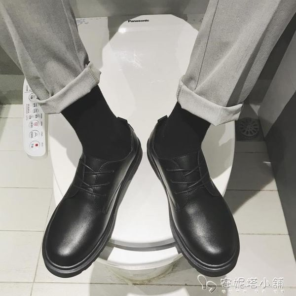 圓頭小皮鞋男韓版學生休閒鞋子男士百搭內增高大頭鞋黑色英倫潮鞋 安妮塔小舖