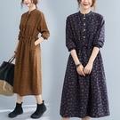 洋裝 秋季新款韓版抽繩收腰休閑顯瘦中長款碎花棉麻長袖連身裙