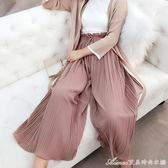 雪紡闊腿褲女夏新款韓版學生高腰顯瘦薄款寬鬆百褶九分長褲子艾美時尚衣櫥
