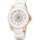 Folli Follie CRYSTAL TIME 晶鑽陶瓷女錶-玫瑰金x白/34mm WF2R025BSW-XX