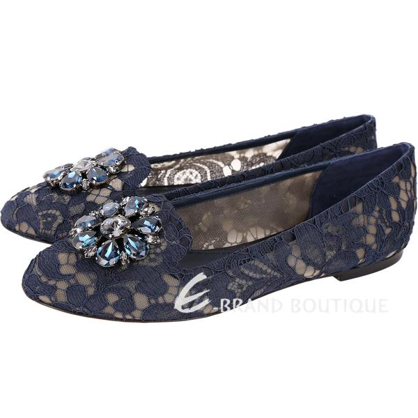 DOLCE & GABBANA 花朵鑽飾蕾絲樂福鞋(藍色) 1730399-34