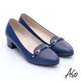 A.S.O 優雅美型 壓紋真皮飾釦樂福中跟鞋  深藍
