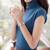 夏季女士高領短袖針織修身套頭秋冬毛衣