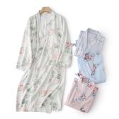 新品睡裙女春夏漣漪浴袍日式長袖冰絲感薄款和服浴衣晨袍棉綢睡衣
