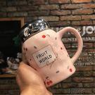 韓版簡約陶瓷杯子女大容量馬克杯茶杯情侶水杯學生可愛牛奶杯帶蓋   可可鞋櫃