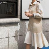 精選38折 韓國風襯衫荷葉邊針織拼接魚尾長袖洋裝