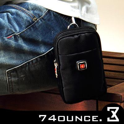 74盎司[N-258] 街頭潮流多功能鐵牌十字雙層尼龍腰掛包/手機/零錢包(腰包) 行動電源