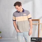 【JEEP】漸層造型質感短袖POLO衫(藍橘色)