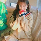 V領毛衣套頭新款韓國學生寬松打底針織衫 巴黎春天