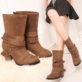 大尺碼女鞋 2019新款韓版時尚絨皮鉚釘尖頭高跟短靴~3色