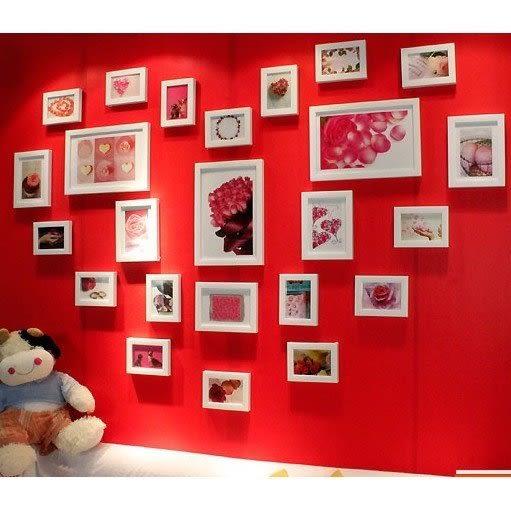 地中海客廳照片牆相框 牆創意組合心形相片牆 24框 【潮咖範兒】