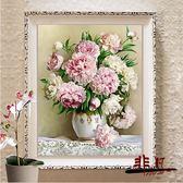 十字繡 印花十字繡客廳新款牡丹花百合花瓶小幅臥室簡約現代歐式玫瑰花【非凡】TW