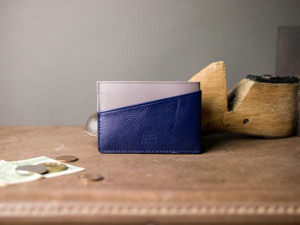 輕便名片夾 Slim Card Holder - 礫石灰/海軍藍【可加購客製雷雕】卡夾 鈔票夾