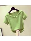 牛油果綠V領短袖女t恤新款夏修身抹茶綠冰絲條紋半袖短款上衣 亞斯藍生活館