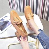 粗跟單鞋女2019春季新款軟妹小皮鞋仙女百搭韓版一腳蹬中跟樂福鞋『摩登大道』