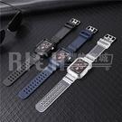 apple watch 1-6 se 適用iwatch 123456代TPU碳纖維手錶帶 蘋果se手錶透明一體錶帶