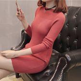 1386實拍一字領中長款毛衣打底衫女裝針織衫毛衣GT1F-134-J1紅粉佳人