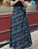 夏裝2018新款女中長款半身裙復古chic一片式印花半身長裙 艾尚旗艦店