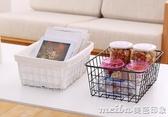 北歐日式鐵藝收納籃浴室收納盒廚房水果儲物筐桌面雜物書籍收納筐QM 美芭
