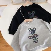 新款純棉印花發光小熊男童衛衣長袖套頭童裝女2021春裝卡通休閒潮
