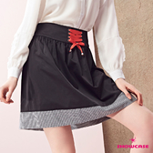 【SHOWCASE】鬆緊腰綁帶顯瘦格紋襬短裙(黑)