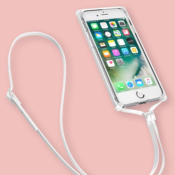 iPhone7 / iPhone8 Plus手機殼 5.5吋【角色派對- 白色皮革掛繩】透明殼 掛繩 脖繩